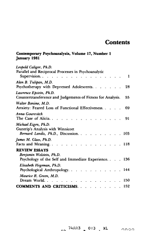 Contemporary Psychoanalysis PDF