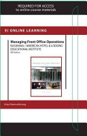 Managing Front Office Operations Online Component  Ahlei     Access Card PDF