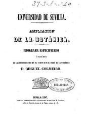 Ampliación de la botánica: programa especificado o resumen de las lecciones que en el curso actual