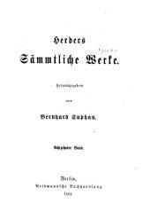 Herders sämmtliche werke: Herausgegeben, Band 18