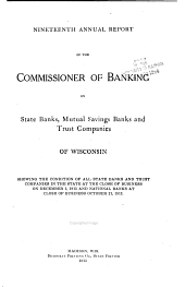 Annual Report of the Commissioner of Banking of State and Mutual Savings Banks of Wisconsin