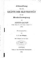 Abhandlung   ber die kr  fte der electricit  t bei der muskelbewegung PDF