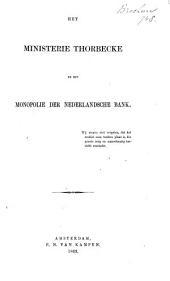 Het ministerie Thorbecke en het monopolie der Nederlandsche Bank