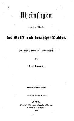 Rheinsagen aus dem Munde des Volks und deutscher Dichter PDF