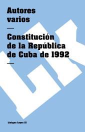 Constitución de la República de Cuba de 1992
