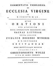 Commentatio theol. de ecclesia virgine, ad 2 Corinth. XI, I. II.