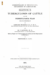 Tuberculosis of Cattle and the Pennsylvania Plan for Its Repression