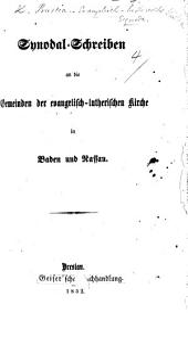 Synodal-Schreiben an die Gemeinden der evangelisch-lutherischen Kirche in Baden und Nassau