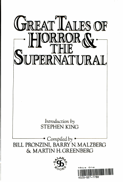 Great Tales of Horror and the Supernatural PDF
