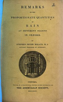 Remarks on the Proportionate Quantities of Rain at Different Seasons in Oxford