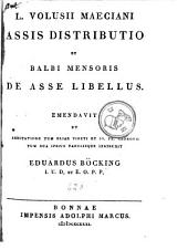 Assis distributio et Balbi Mensoris de asse libellus