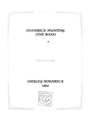Hornbeck Hunting  the Book    Descendants of Warnaar Hornbeck  Born C1645