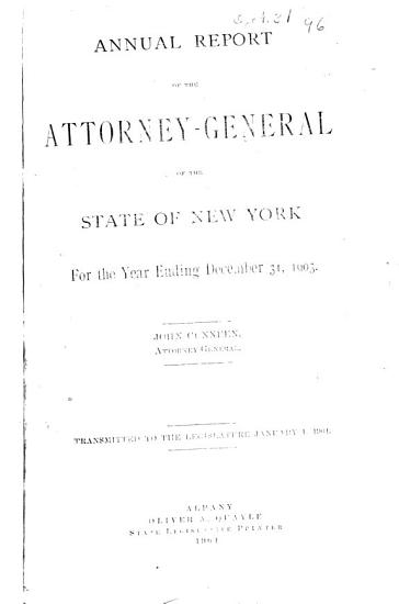 Annual Report of the Attorney General of the State of New York PDF