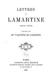 Lettres à Lamartine, 1818-1865