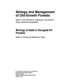 Biology of Bats in Douglas fir Forests PDF
