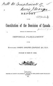Report on the Constitution of the Dominion of Canada