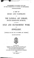 A List of Books and Pamphlets in the National Art Library  South Kensington Museum PDF
