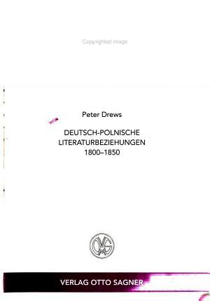 Deutsch polnische Literaturbeziehungen 1800 1850 PDF
