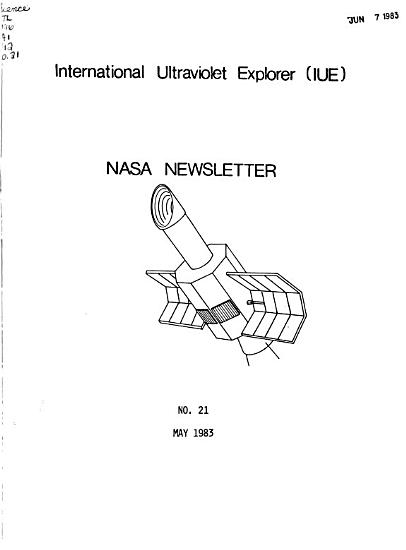 NASA Newsletter for International Ultraviolet Explorer  IUE   PDF