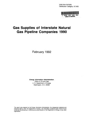 The Gas Supplies of Interstate Natural Gas Pipeline Companies PDF