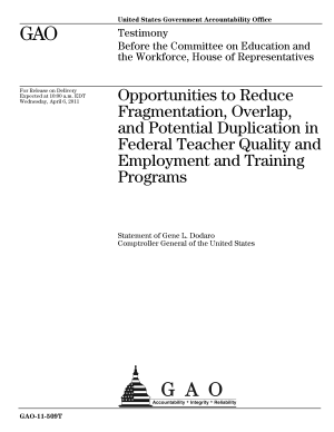 Opportunities to Reduce Fragmentation  Overlap  and Potential Duplication in Federal Teacher Quality and Employment and Training Programs  Testimony Before the Committee on Education and the Workforce  U S  House of Representatives PDF