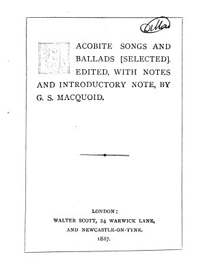 Jacobite songs and ballads  selected  ed  with notes  by G S  Macquoid
