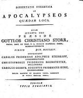 Diss. exeg. in Apocalypseos quaedam loca: 1