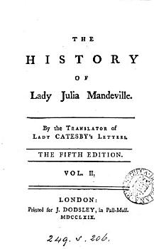 The history of lady Julia Mandeville  by the translator of lady Catesby s letters PDF