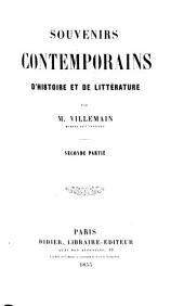 Souvenirs contemporains d'histoire et de littérature: Volume2