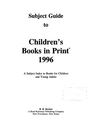 Subject Guide to Children s Books In Print  1996
