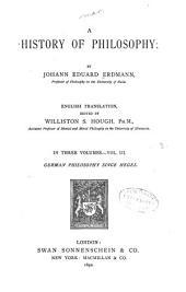 A History of Philosophy: German philosophy since Hegel