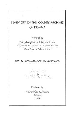 Inventory of the County Archives of Indiana PDF