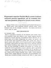 Programmatis nuperrime natalitiis regiis a nostra Academia celebrandis praemissi appendicula, qua de certaminis litterarii anno praeterito peragendi et peracti eventu refertur: 1839