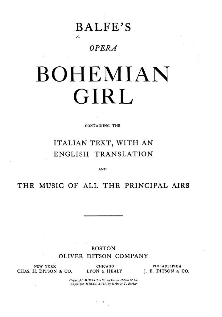 Balfe's Opera Bohemian Girl