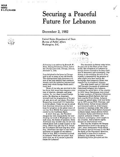 Securing a Peaceful Future for Lebanon PDF