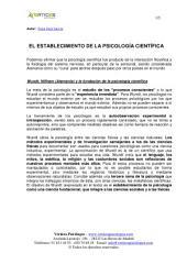 EL ESTABLECIMIENTO DE LA PSICOLOGÍA CIENTÍFICA