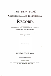 The New York Genealogical and Biographical Record: Volume 43