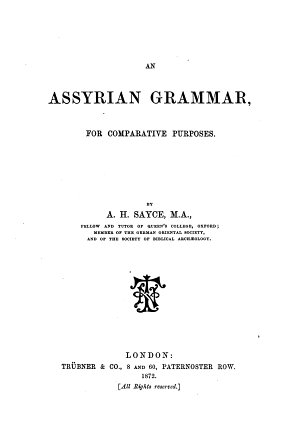 An Assyrian Grammar  for Comparative Purposes PDF