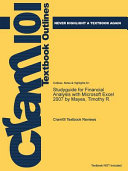 Studyguide for Financial Analysis with Microsoft Excel 2007 by Mayes  Timothy R  PDF