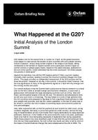What Happened at the G20  Initial analysis of the London summit PDF