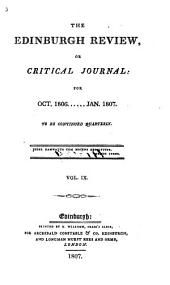 The Edinburgh Review: Or Critical Journal, Volume 9