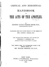 Critical and Exegetical Handbook to the Acts of the Apostles