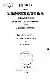 Storia della letteratura antica e moderna di Federico de Schlegel