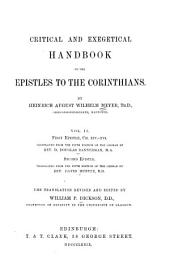 Critical and Exegetical Handbook to the Epistles to the Corinthians: Part 2