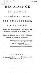 Décadence et chute du systême de finances de l'Angleterre, par Th. Paine... Traduit de l'anglais par F. Lanthenas,...