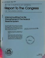 Internal Auditing Can be Strengthened in the Federal Reserve System PDF