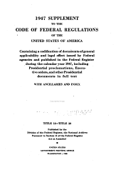 The Code of Federal regulations of the United States of America: having general applicability and legal effect in force June 1, 1938, Volumes 18-30