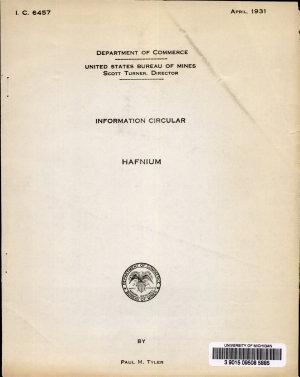 The Separation Of Hafnium And Zirconium By Fractional Precipitation