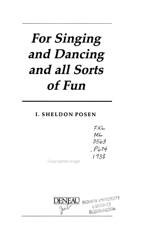 For Singing and Dancing and All Sorts of Fun PDF