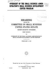 Oversight of the Small Business Administration s Small Business Development Center Program PDF